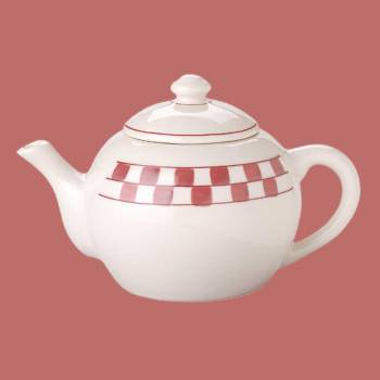 Teapot RedWhite Handpainted Checkmate Stoneware 64 OZ Tea Pot Tea Pots Teapot