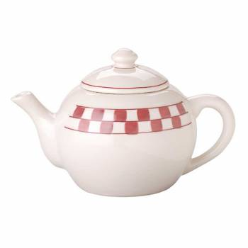 Teapot Red/White Handpainted Checkmate Stoneware 64 OZ 63875grid