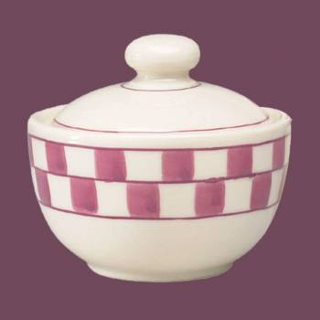 <PRE>Sugar Bowl Red/White Checkmate Stoneware Handpainted </PRE>zoom2