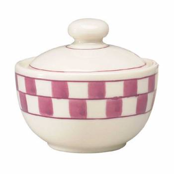 Sugar Bowl Red/White Checkmate Stoneware Handpainted 638751grid