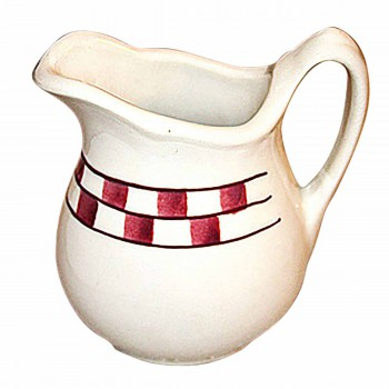 Creamer Red/White Checkmate Stoneware Creamer Handpainted 638752grid