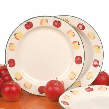 Stoneware Decorative Ceramic White Plate Country Apple 10
