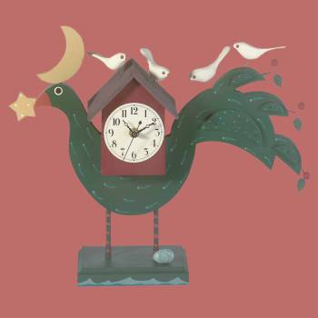 <PRE>Renovator's Supply Decorative Desk Office Clock Green Painted Wood Bird </PRE>zoom2