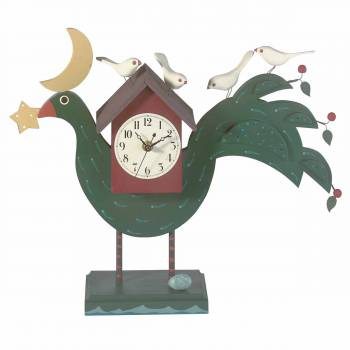 Folkart Peacock Clock Handpainted Pine