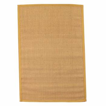 Rectangular Area Rug 6' x 4' Yellow Jute 63884grid