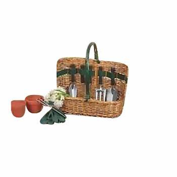 Baskets Brown Willow/Wood Garden Basket 6 pc Tool Set 63937grid