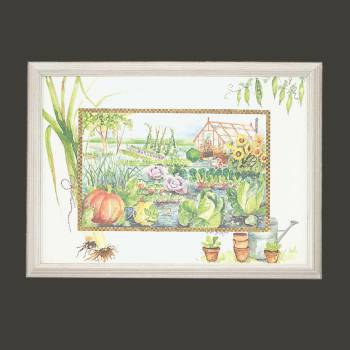 spec-<PRE>Wall Art Vegetable Garden Print Wood Frame 23&quot;H x 34&quot;W </PRE>