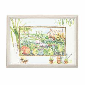 Wall Art Vegetable Garden Print Wood Frame 23
