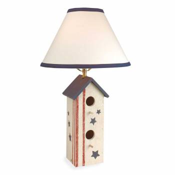 Table Lamp Country Pine Wood Birdhouse Lamp 22
