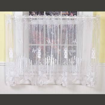 <PRE>Curtains White Polyester Tier Jacqard Lace 1 Panel </PRE>