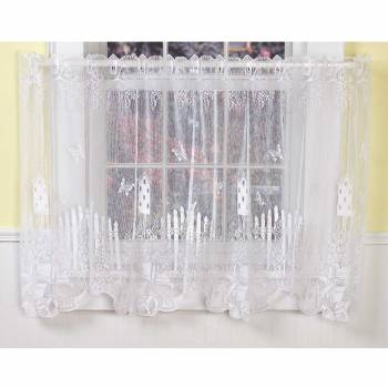Curtains White Polyester Tier Jacqard Lace 1 Panel 64098grid