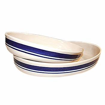 Stoneware Casserole Set of 2 Blue Stripe Made in Poland