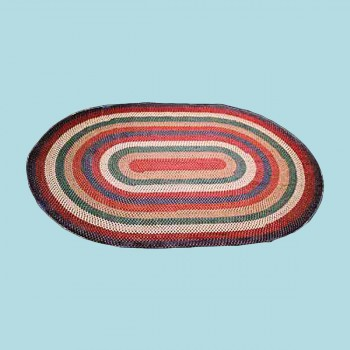 Red Nylon Concentric Pattern Kitchen Oval Area Rug 6 x 4 carpet oval circles indoor outdoor braided area rug nylon red kitchen Braided Area Rugs