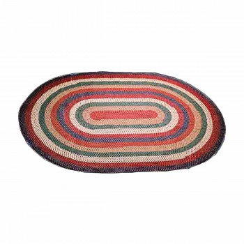 Red Nylon Concentric Pattern Kitchen Oval Area Rug 6' x 4' 64187grid