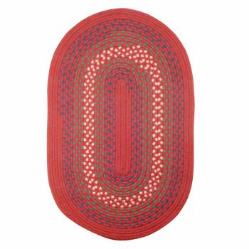 Oval Area Rug 5' x 3' Red Nylon 64202grid