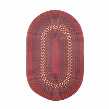 Oval Area Rug 6' x 4' Red Nylon 64203grid