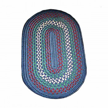 Oval Area Rug 3' x 2' Blue Nylon 64208grid