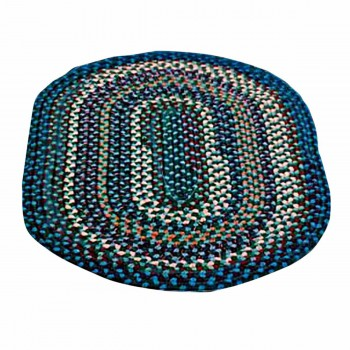 Oval Area Rug 9' x 7' Blue Nylon 64231grid