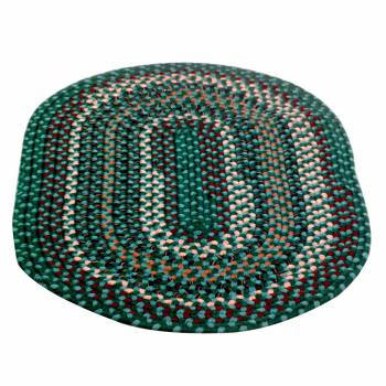 Oval Area Rug 3' x 2' Green Nylon 64236grid