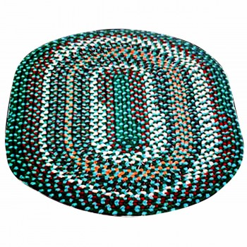 Oval Area Rug 9' x 7' Blue Nylon 64238grid