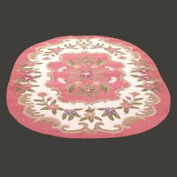 <PRE>Oval Area Rug 6' x 4' Pink Wool </PRE>zoom2