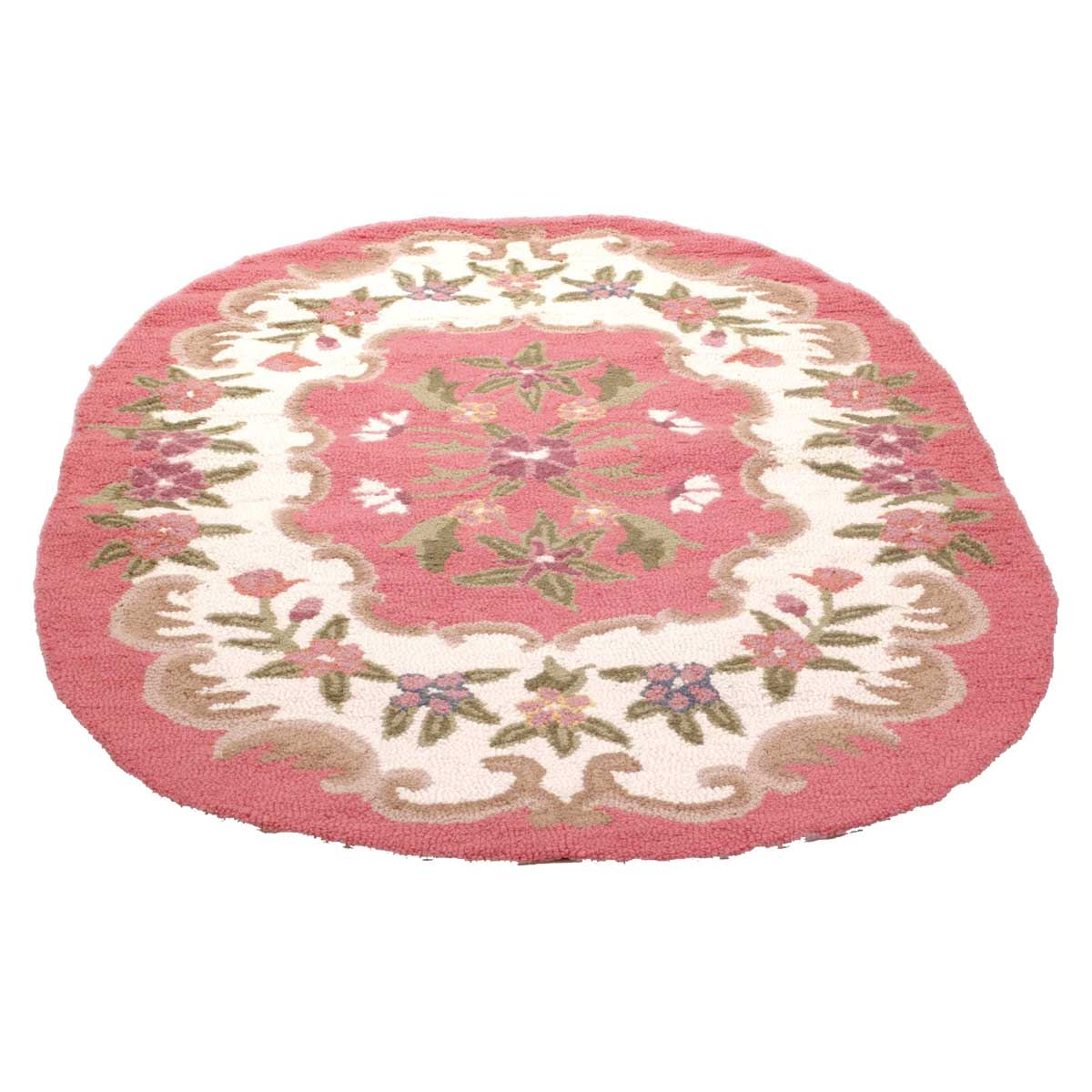 Oval Area Rug 6' X 4' Pink Wool