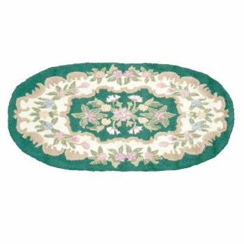 Wool Oval Traditional Area Rug Hooked Green Floral 3' x 5' 64258grid