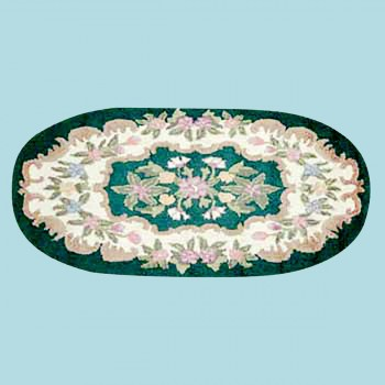 <PRE>Wool Oval Traditional Area Rug Hooked Green Floral 4' x 6' </PRE>zoom2