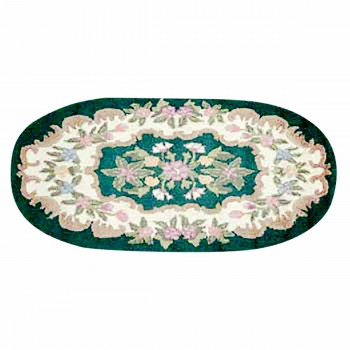Wool Oval Traditional Area Rug Hooked Green Floral 4' x 6' 64259grid