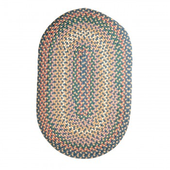 Oval Area Rug 3' x 2' Blue Nylon 64269grid