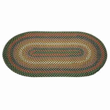 Green Nylon Oval Area Rug 5' Long x 3' Wide 64277grid