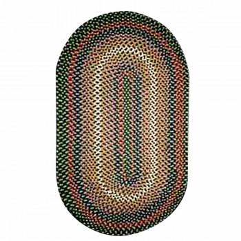 Oval Area Rug 11' x 8' Green Nylon 64280grid