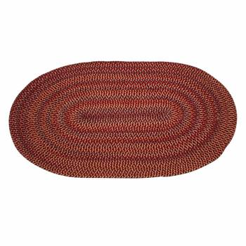 Colonial Style Oval Area Rug 6' x 4' Red Nylon 64284grid