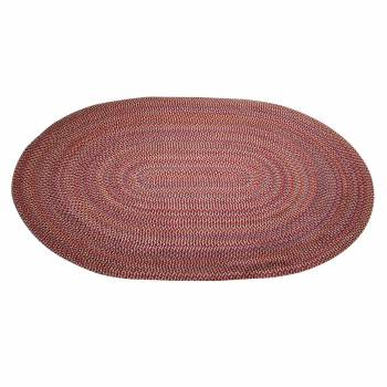 Oval Area Rug 9' x 7' Red Nylon 64285grid