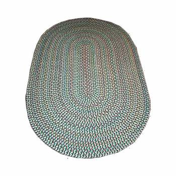 Oval Area Rug 6' x 4' Green Nylon 64298grid