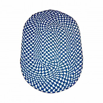 Blue Nylon Concentric Pattern Kitchen Oval Area Rug 9' x 7' 64314grid