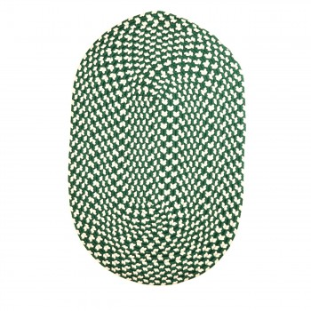 Oval Area Rug 3' x 2' Green Nylon 64318grid