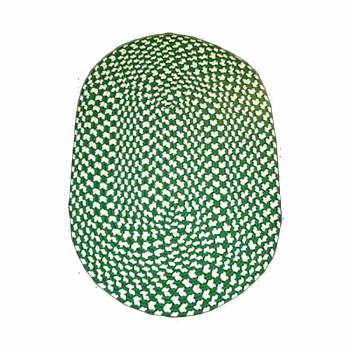 Oval Area Rug 5' x 3' Green Nylon 64319grid
