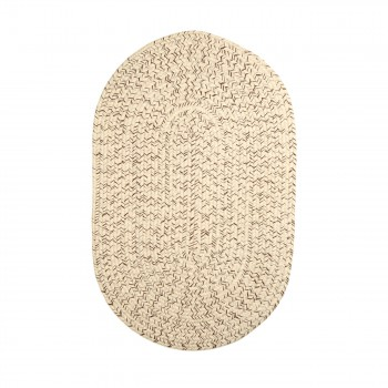 Oval Area Rug 3' x 2' Beige Nylon 64325grid