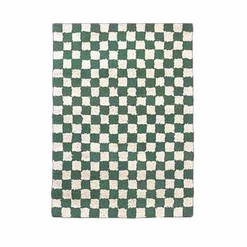 Rectangular Area Rug 6' x 4' Green Cotton 64353grid