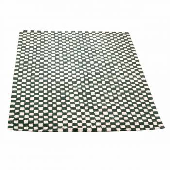Rectangular Area Rug 9' x 6' Green Cotton 64354grid