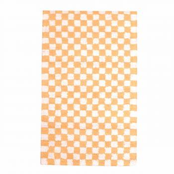 Checkered Rug Yellow and White Cotton 30 x 96