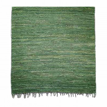 Rectangular Area Rug 6' x 4' Green Cotton 64363grid
