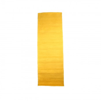 Hooked Rug Runner Mustard Yellow Cotton 30 x 96