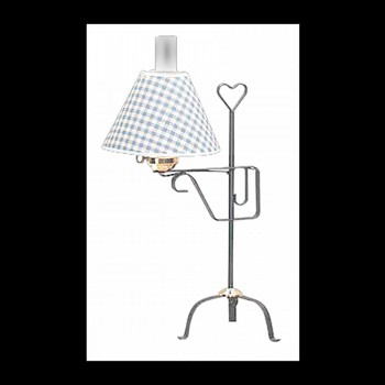 <PRE>Table Lamp Black Wrought Iron Blue Shade </PRE>