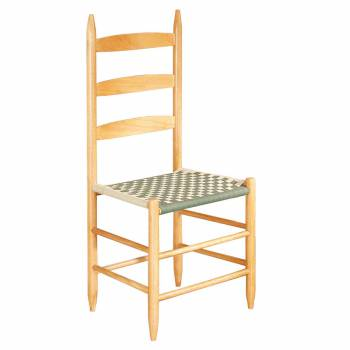 Ladderback Chair Beechwood Dark Green and Light Green Cotton Webbing