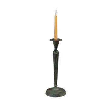 Solid Brass Candlestick Holder Green 12