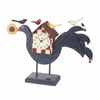 <PRE>Clocks Blue Check Wood Peacock Clock 14inchH </PRE>zoom1
