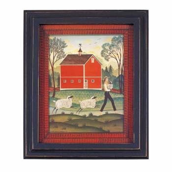 Framed Print Red Wood Sheep 25 1/8