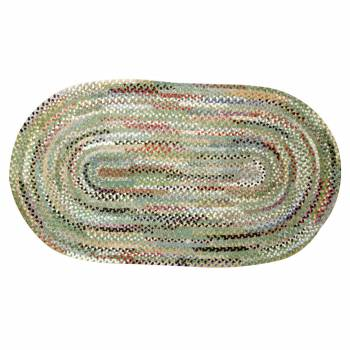 Oval Area Rug 8' x 5' Green Cotton  64599grid